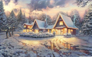 Christmas Lodge Thomas Kinkade snowing Oil Paintings