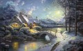 Christmas Moonlight Thomas Kinkade snowing