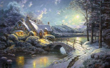 Christmas Moonlight Thomas Kinkade snowing Oil Paintings