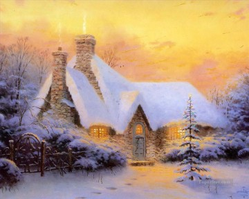Snow Painting - Christmas Tree Cottage Thomas Kinkade snowing