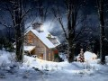 Christmas cottages snowing