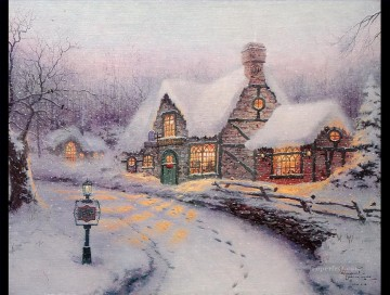 Olde Porterfield Gift Shoppe Thomas Kinkade snowing Oil Paintings