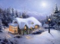 Silent Night Thomas Kinkade snowing