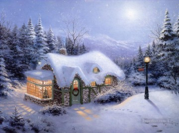 Snow Painting - Silent Night Thomas Kinkade snowing