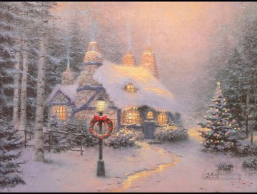 Snow Painting - Stonehearth Hutch Thomas Kinkade snowing