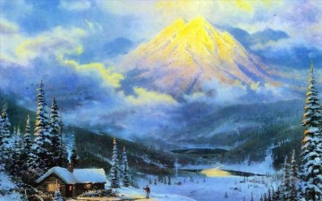 Snow Painting - The Warmth Of Home Thomas Kinkade snowing