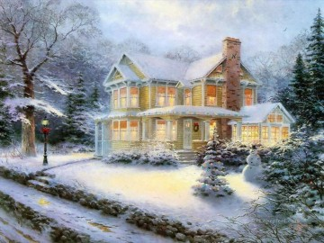 Victorian Christmas III Thomas Kinkade snowing Oil Paintings