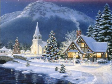 Village at Christmas eve snowing Oil Paintings