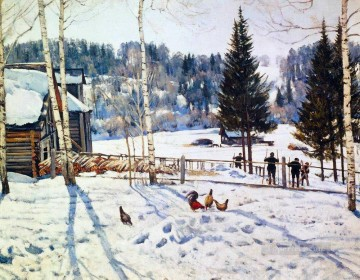 end of winter noon ligachevo 1929 Konstantin Yuon snow landscape Oil Paintings