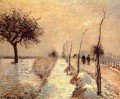 road at eragny snow 1885 Camille Pissarro