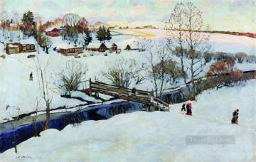 the winter little bridge 1914 Konstantin Yuon snow landscape Oil Paintings