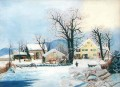 sn037B impressionism snow winter scenery