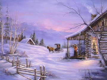 Christmas back to home snowing Oil Paintings