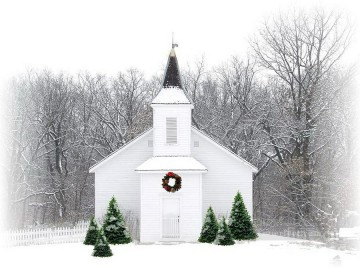 Snow Painting - Country Christmas Church snowing