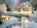 Deer Creek Cottage Thomas Kinkade snowing