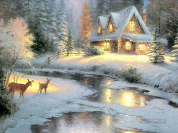 Snow Painting - Deer Creek Cottage Thomas Kinkade snowing