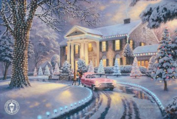 baptism of christ Painting - Graceland Christmas Thomas Kinkade snowing