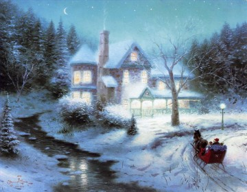 Moonlit Sleigh Ride Thomas Kinkade winter Oil Paintings