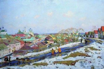 in the province torjok tver governorate 1914 Konstantin Yuon snow landscape Oil Paintings
