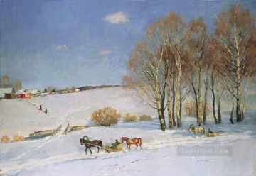 horse racing Painting - winter landscape with horse drawn sleigh 1915 Konstantin Yuon snow