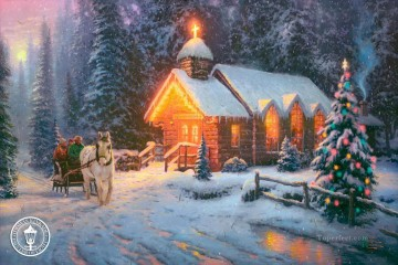 Christmas Chapel I Thomas Kinkade winter Oil Paintings