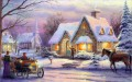 Christmas Thomas Kinkade cottage winter