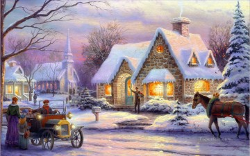 Christmas Thomas Kinkade cottage winter Oil Paintings