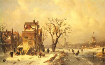 Skaters In A Frozen snow Landscape Charles Leickert Oil Paintings