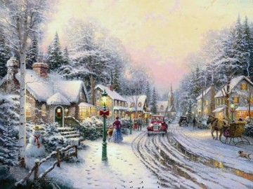 baptism of christ Painting - Village Christmas Thomas Kinkade winter