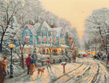 Snow Painting - A Holiday Gathering Thomas Kinkade winter