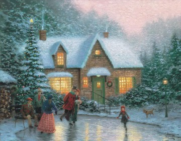 Skater Pond Thomas Kinkade winter Oil Paintings