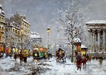 antoine blanchard place de la madeleine snow Oil Paintings