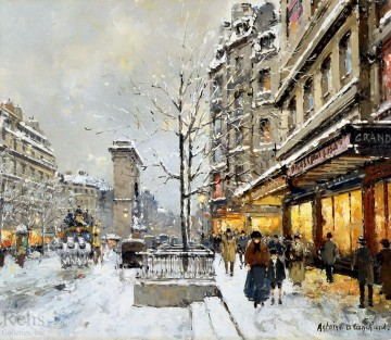 antoine blanchard porte st denis snow Oil Paintings