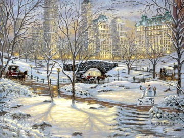 A Winter Eve in New York Oil Paintings