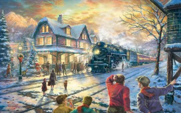 All Aboard for Christmas Thomas Kinkade winter Oil Paintings