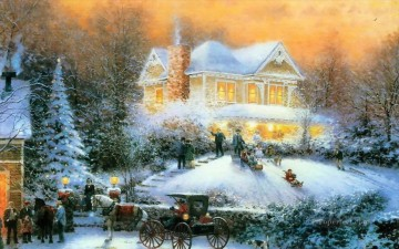 Victorian Christmas II Thomas Kinkade winter Oil Paintings