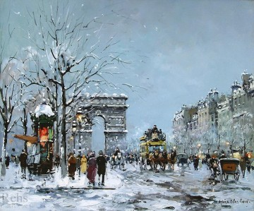 antoine blanchard champs elysees snow Oil Paintings