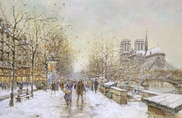 Snow Painting - antoine blanchard snow in paris notre dame