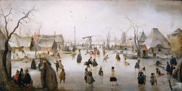 Ice Scene 2 snow landscape Hendrick Avercamp Oil Paintings