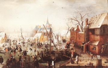 snow Scene At Yselmuiden Hendrick Avercamp Oil Paintings