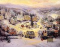 Thomas Kinkade xmas st nicholas circle winter