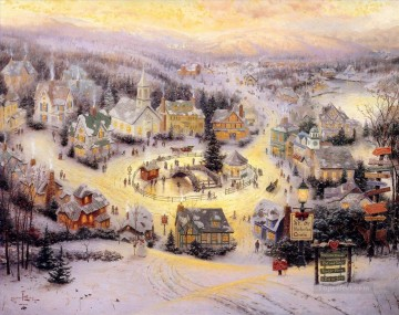 Thomas Kinkade xmas st nicholas circle winter Oil Paintings