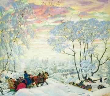 Artworks in 150 Subjects Painting - winter 1916 Boris Mikhailovich Kustodiev snow landscape