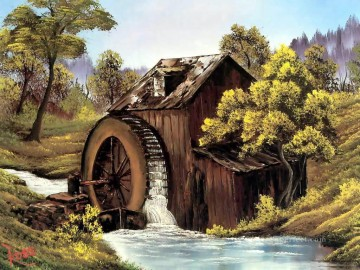 the old mill Style of Bob Ross Oil Paintings