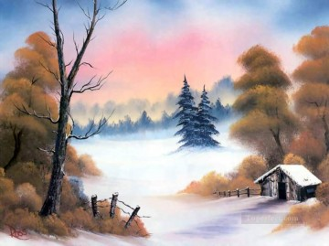Autumn Trees after First Snow Style of Bob Ross Oil Paintings