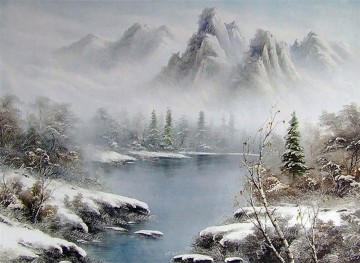Lake and Mountains in Fog Style of Bob Ross Oil Paintings