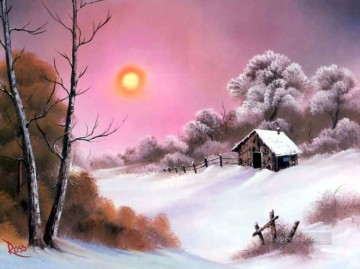 Pink Sunset in Winter Style of Bob Ross Oil Paintings
