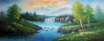 Waterfall in Summer Style of Bob Ross Oil Paintings