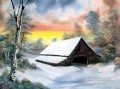 cottage in winter Style of Bob Ross