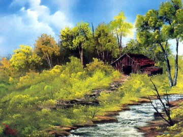 stream Painting - meadow stream Style of Bob Ross